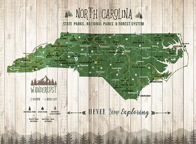 State Park Nc Map.Amazon Com North Carolina State Park Push Pin Map Foam Mounted