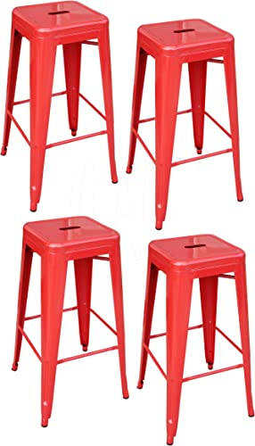 AmeriHome Metal Bar Stool Set, 30-Inch, Red, Set of 4