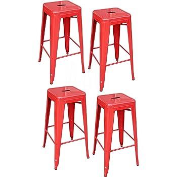 amerihome metal bar stool set 30 inch red set of 4 kitchen dining. Black Bedroom Furniture Sets. Home Design Ideas