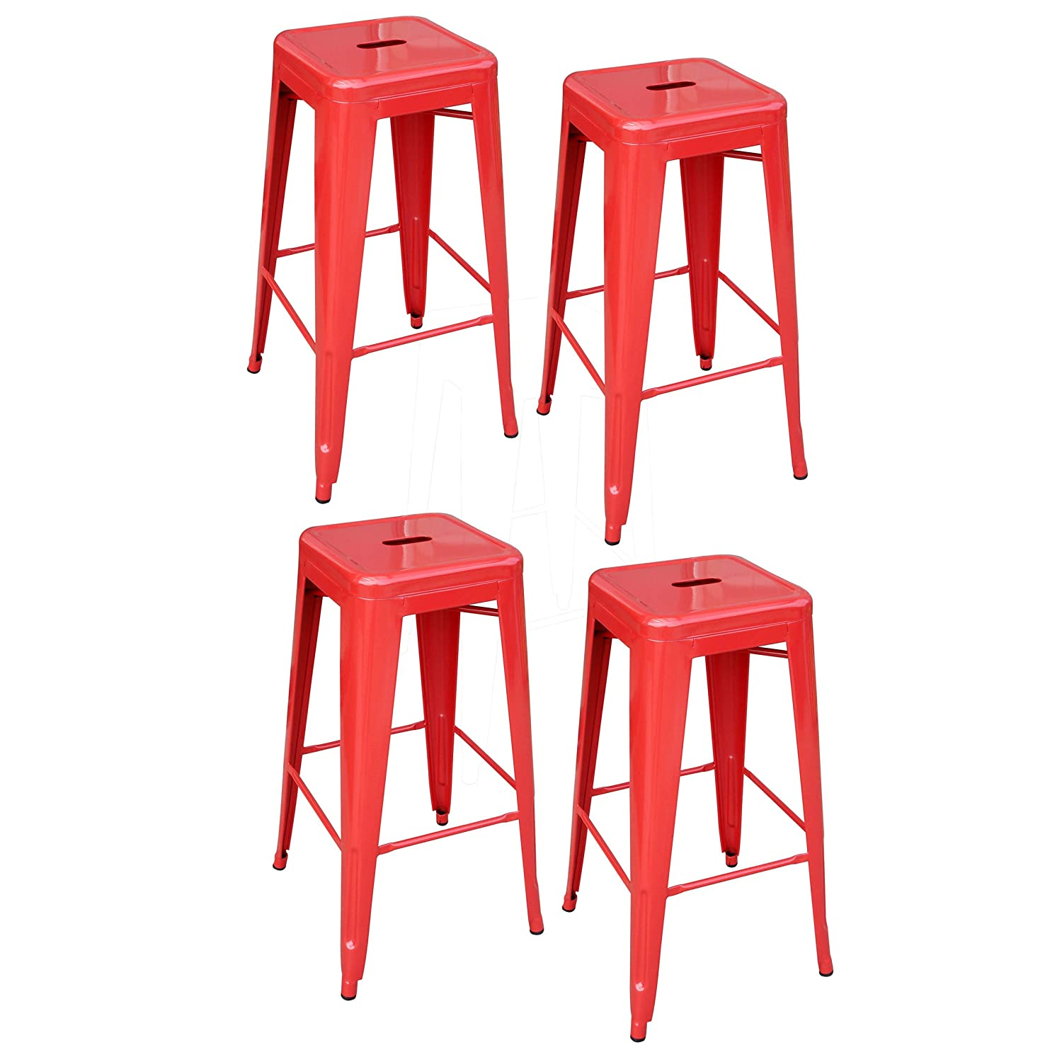 Amazon AmeriHome Metal Bar Stool Set 30 Inch Red Set of 4