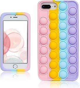 oqpa for iPhone 7 Plus/8 Plus/6 Plus/6S Plus Case Kawaii Funny Cute Fun Silicone Design Cover for Girls Kids Boys Teen Fashion Cool Unique Fidget Color Bubble Cases (for iPhone 6/7/8 Plus 5.5