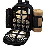 Picnic at Ascot - Deluxe Equipped 4 Person Picnic Backpack with Cooler, Insulated Wine Holder & Blanket - London Plaid