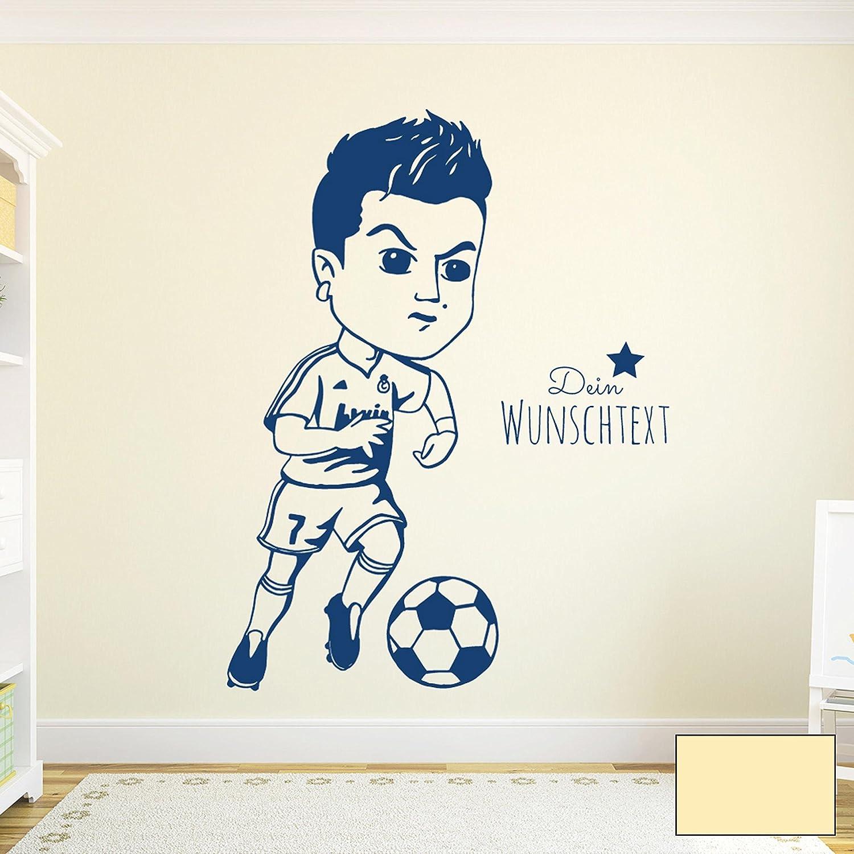 Wandtattoo Wandaufkleber Wandsticker Wandbild Aufkleber Sticker Fussball Fussballspieler Ronaldo Ronaldo Ronaldo mit Wunschtext M1963 ausgewählte Farbe  blau ausgewählte Größe  XL - 77cm breit x 100cm hoch B01GQE3S02 Wandtattoos & Wandbilder fa7f8e