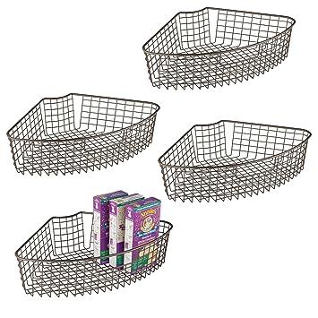 mDesign Juego de 4 cestas de almacenaje para armarios – Cesta de alambre robusta para muebles