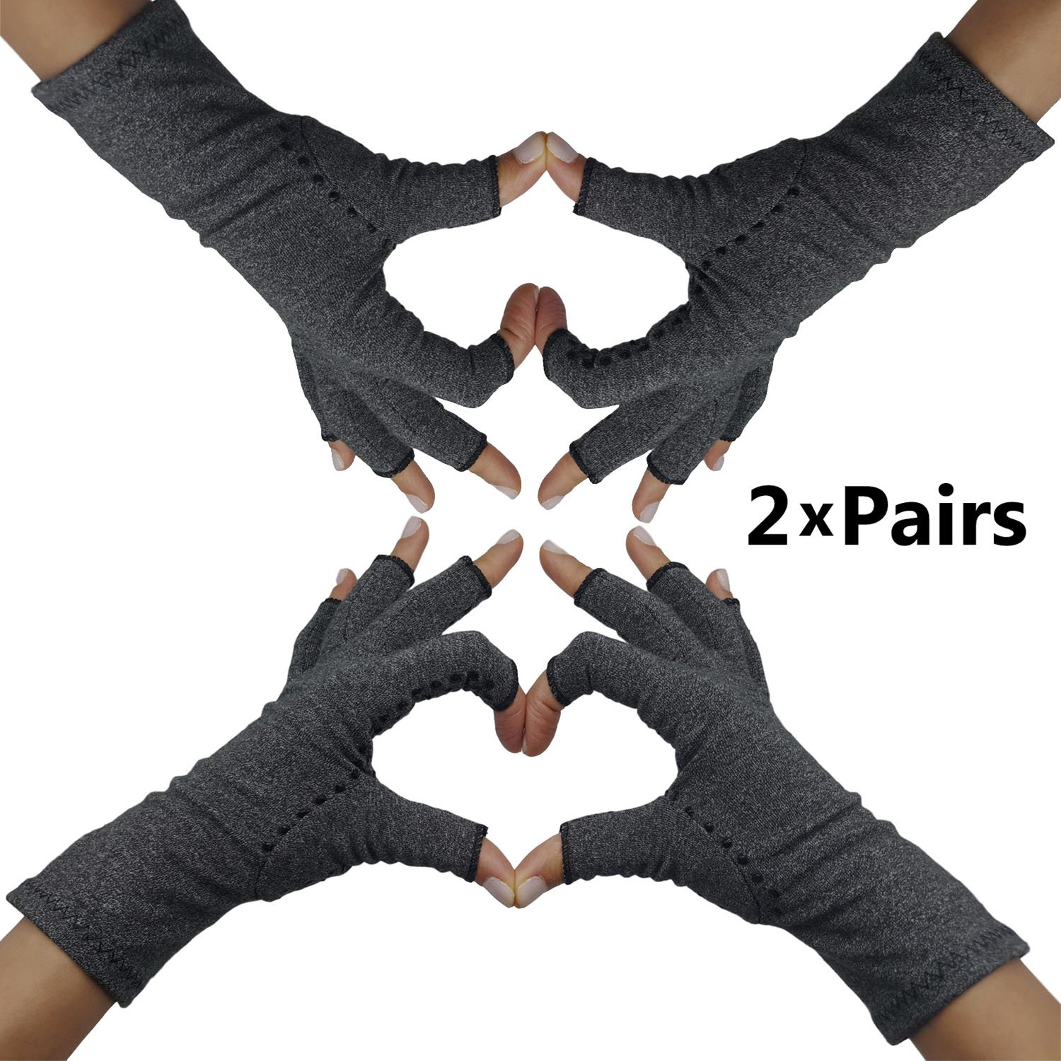 Fingerless Arthritis Compression Gloves - Arthritis Gloves to Help Swollen Hands & Fingers. Rheumatoid Joints & Carpal Tunnel Pain Relief, Fits Women & Men. Warms Knuckles and Supports Wrists (Large)
