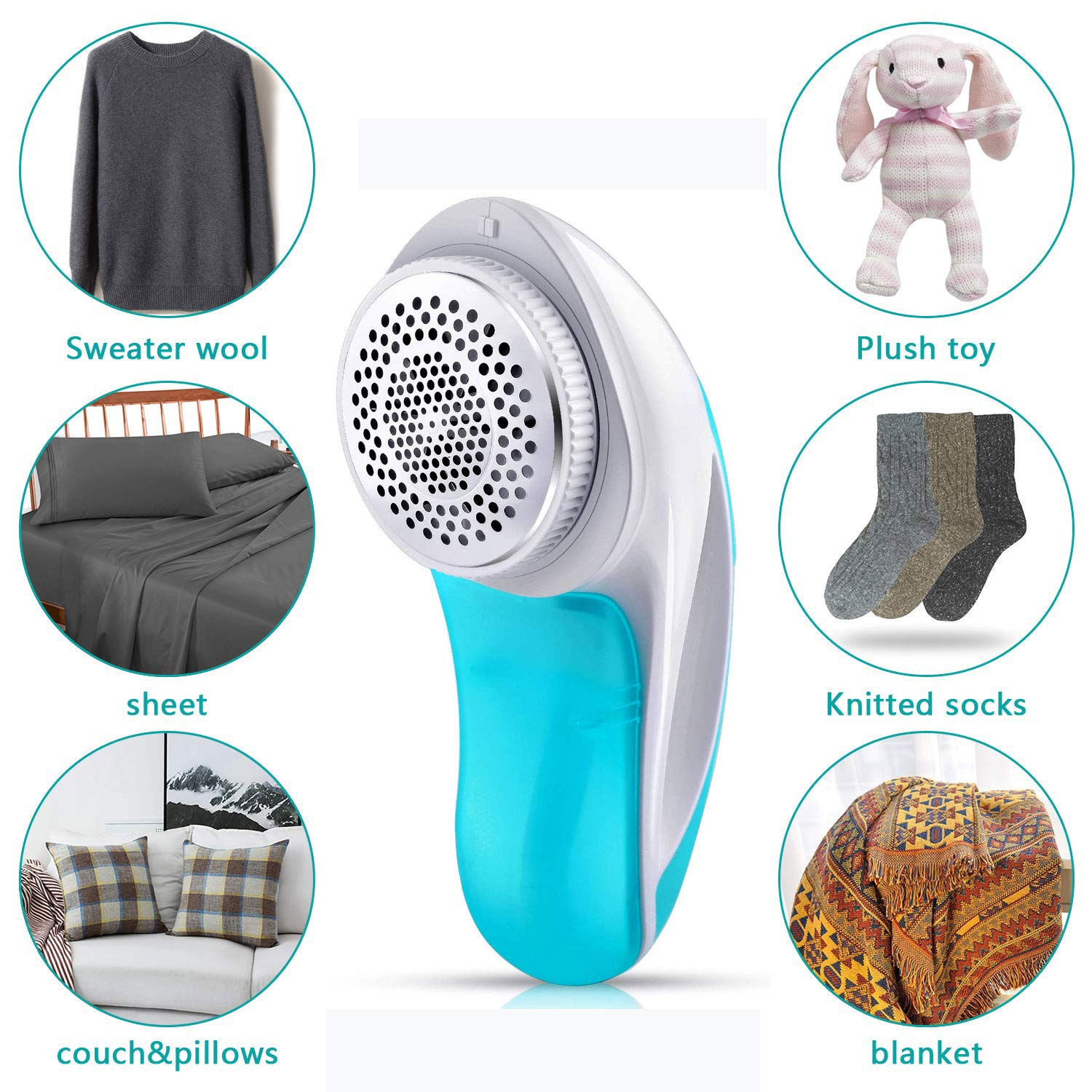 Fabric Shaver - Lint Remover - Electric Sweater Shaver - High Speed Portable, Quickly and Effectively Remove Fuzz, Lint, Pills, Blanket, Socks, Legging, Curtain, Professional USB Rechargeable by HSelar (Image #2)