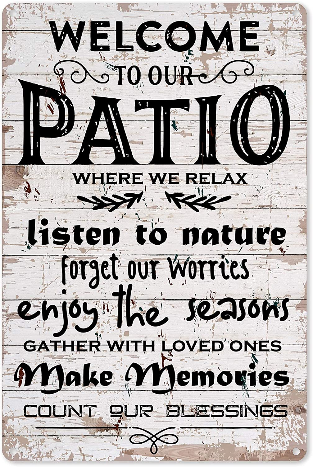 Funny Patio Metal Tin Sign Wall Decor- Vintage Welcome To Our PatioMetal Tin Signfor Home Wall Decor Gifts - Retro FarmhouseSigns Outdoor Decor Gift for Women Men Friends - 8x12 Inch