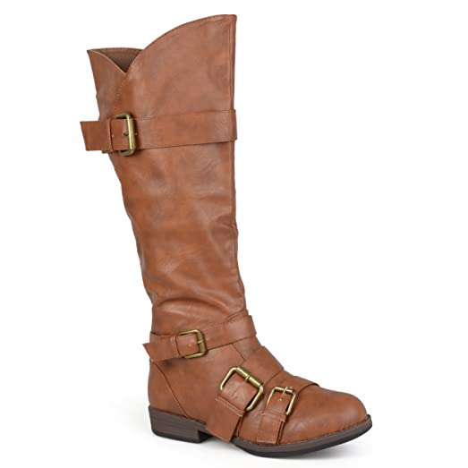 Womens Regular Sized and Wide-Calf Buckle Knee-high Riding Boot