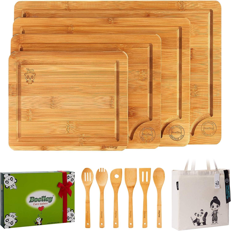 40% Off Coupon – 4 Pcs Bamboo Cutting Board Set + 6 Pcs Kitchen Utensils