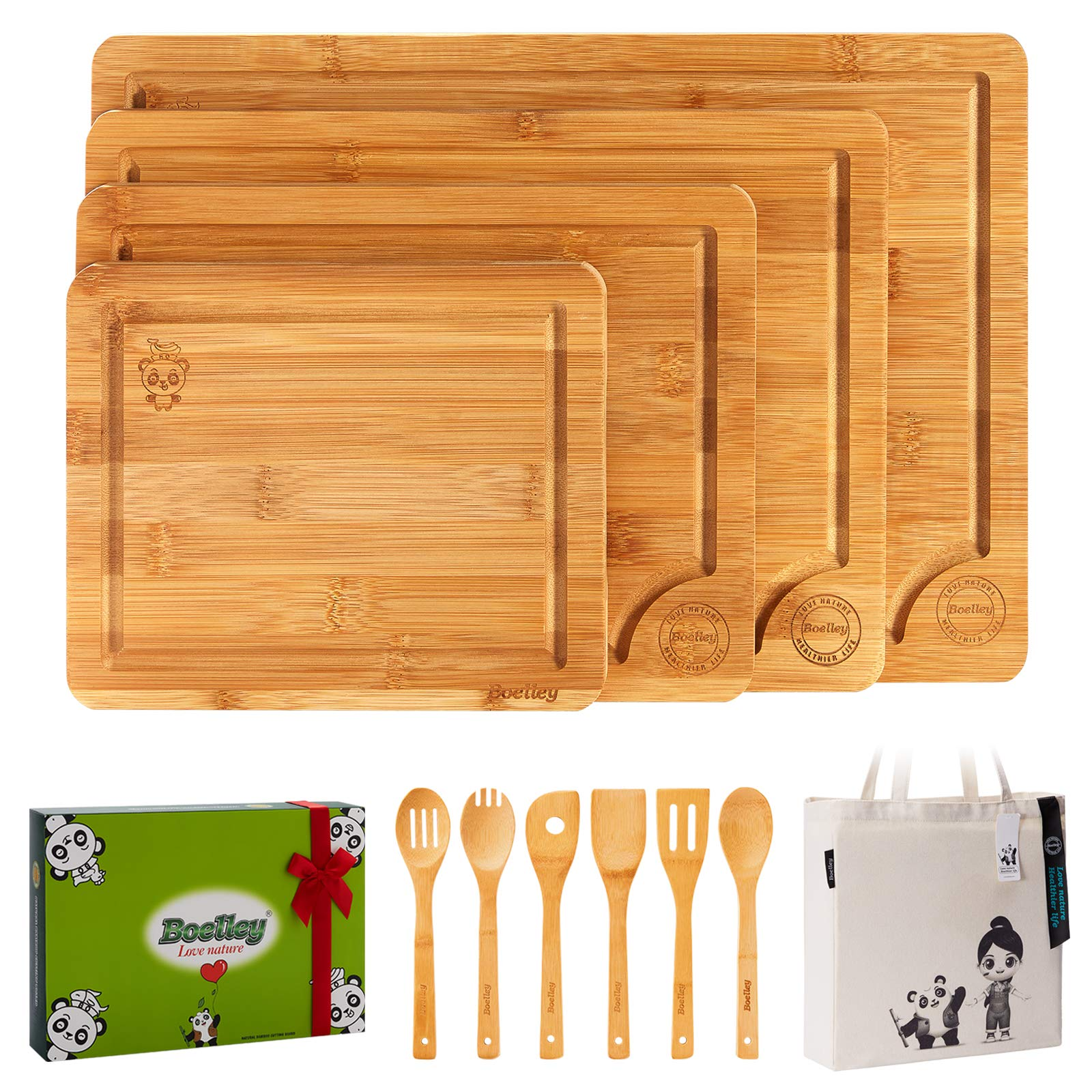 Boelley Bamboo Cutting Board set of 4 with 6 Utensils and 1