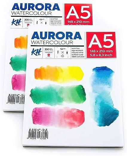 Aurora - Bloc de papel para acuarela A4 (21 x 29,7 cm), paquete de 2 unidades, 12 hojas cada bloc, prensado en caliente, 300 g/m², ideal para técnicas ...