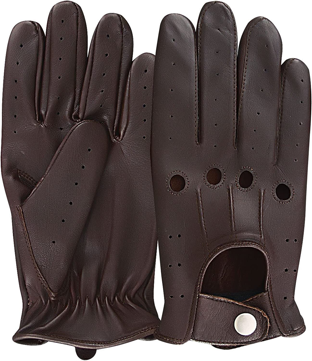Mens Classic Driving Gloves Vintage Button Style Soft Lambskin Leather Dress Fashion