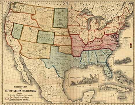 Vintography 1861 Civil War map of United States Military of The United  States & Territories