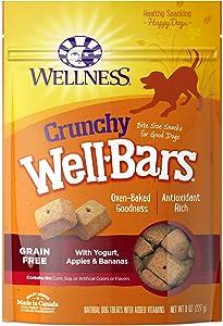 Wellness Crunchy Wellbars Natural Grain Free Dog Treats, Yogurt, Apples & Bananas, 8-Ounce Bag