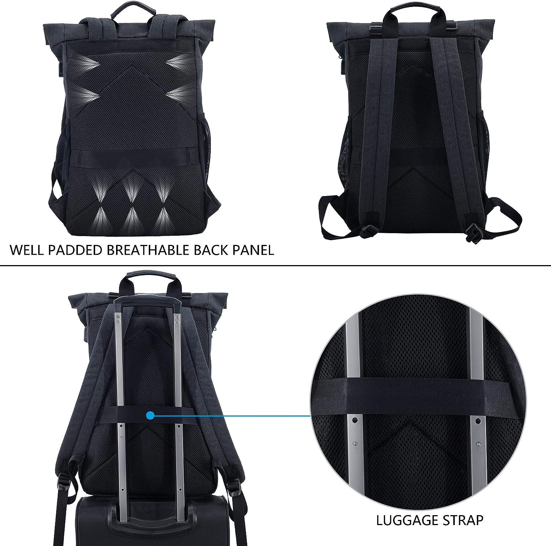 KROSER Sac /à Dos Roll-Top pour Ordinateur Portable 15,6 Sac de Jour D/écontract/é L/éger Imperm/éable Sac de Voyage avec USB Port pour Universit/é//Affaires//Sport//Femme//Homme Laptop Backpack