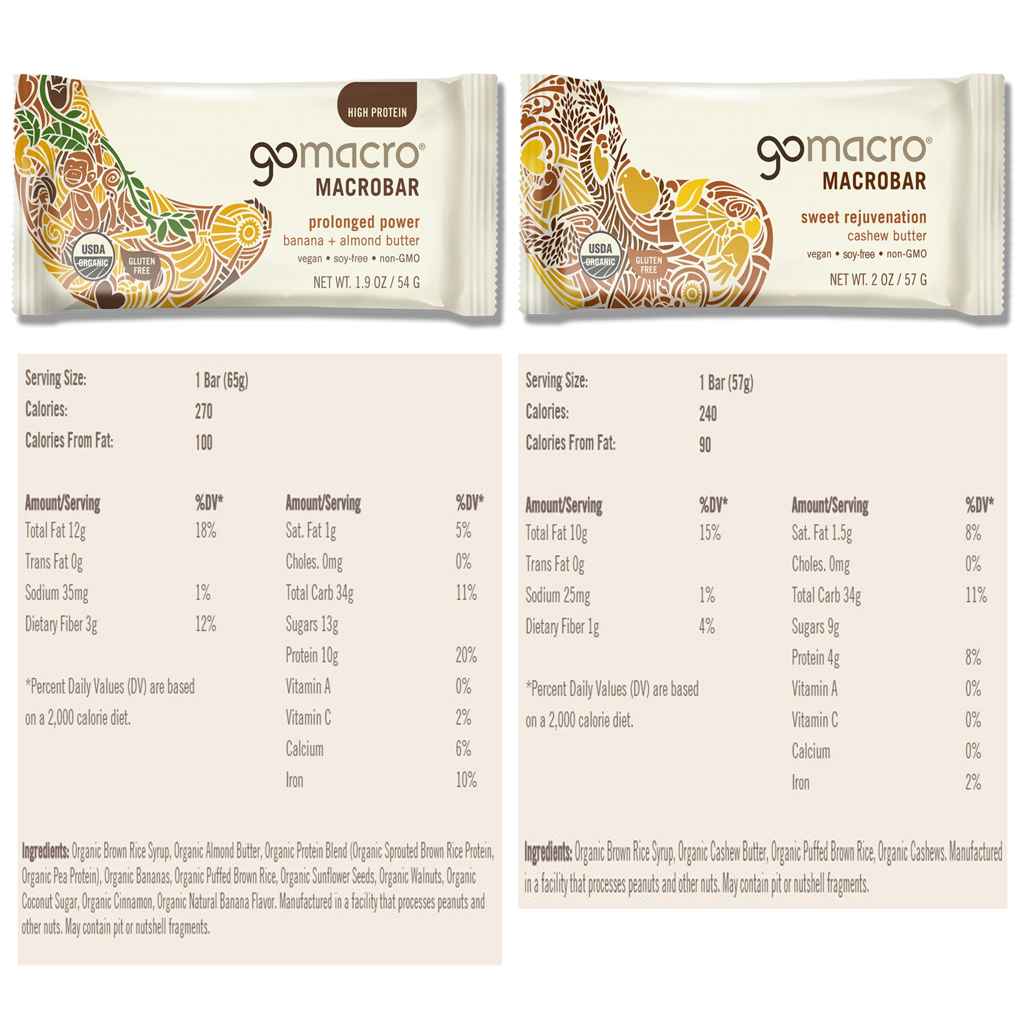 GoMacro Bars / Go Macro Organic Nutrition Meal Bars Variety, 1.9 oz- 2.5 oz (Pack of 20 / 2 Each of 10 Flavors ) with Snack Castle 9'' x 8'' Reusable Snack Pouch with Locking Knob Bundle by GoMacro (Image #8)