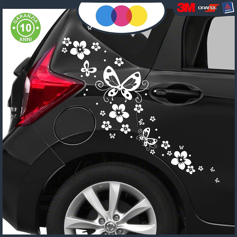 NOVIT/à! decal stickers BIANCO auto moto camper FIORI E FARFALLE- AUTO MACCHINA ADESIVI PER AUTO