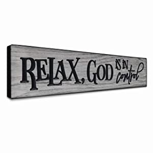 LACOFFIO Inspirational Wall Art - Relax, God is in Control Rustic Christian Faith Wall Decor for Kitchen - Grey Scripture Wooden Signs