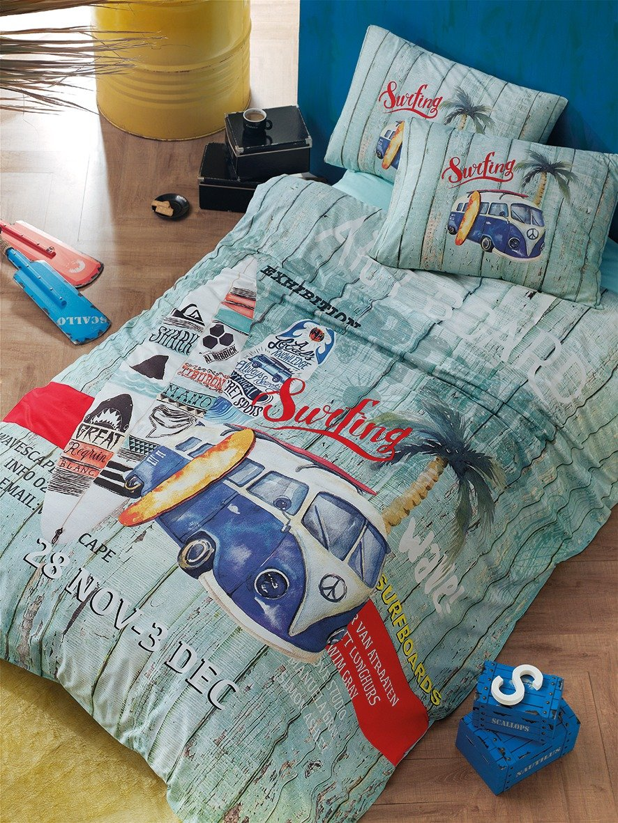 Bekata Surfer, 100% Cotton Nautical Bedding Set, Vintage Classic Van Minibus Surfing Themed Quilt/Duvet Cover Set with Fitted Sheet, Single/Twin Size, COMFORTER INCLUDED (4 PCS)