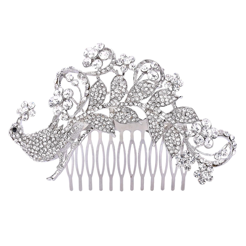 Ever Faith Bridal Silver-Tone 4.5 Inch Peacock Flower Hair Comb Clear Austrian Crystal A09520-1