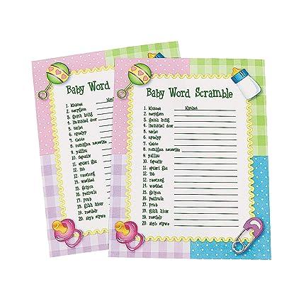 Amazoncom Fun Express Baby Word Scramble Baby Shower Game 24