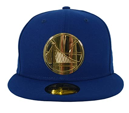 brand new 35ad3 cc6e8 New Era 59FIFTY Golden State Warriors Metal Logo Fitted Cap Blue Gold 7