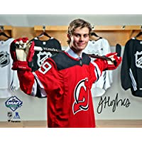 """$69 » Jack Hughes New Jersey Devils Autographed 8"""" x 10"""" 2019 NHL Draft Night Photograph - Fanatics Authentic Certified"""