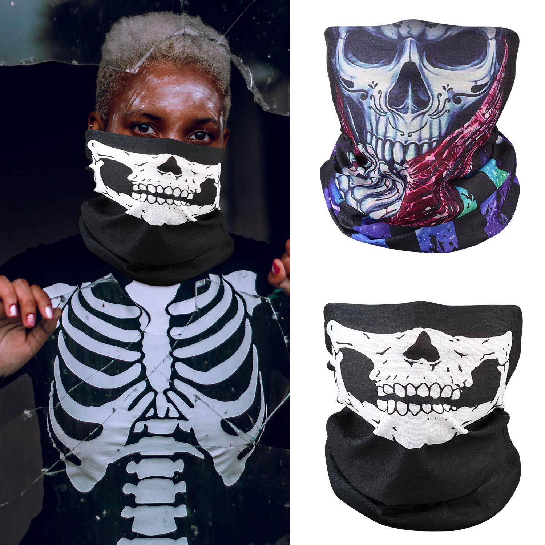 ZOYLINK 2 Set Weiß Schädel Gesichtsmaske und Skelett HandschuheGeist Multifunktionstuch Motorradmaske Sturmmaske Schwarz für Halloween Fasching Karneval Party Kostüm
