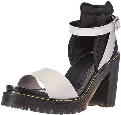 Dr. Martens Women's Medea Heeled Sandal, Soft Grey-Black, 6 UK/