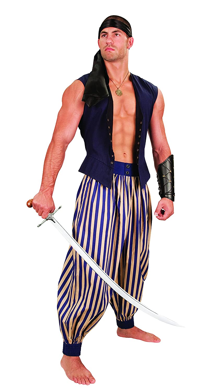 Deluxe Adult Costumes - Tan & navy stripes Madagascar harem pirate pants by Museum Replicas