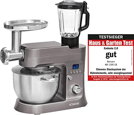 Bomann KM 1395 CB Robot de Cocina Multifunción, Batidora Amasadora ...