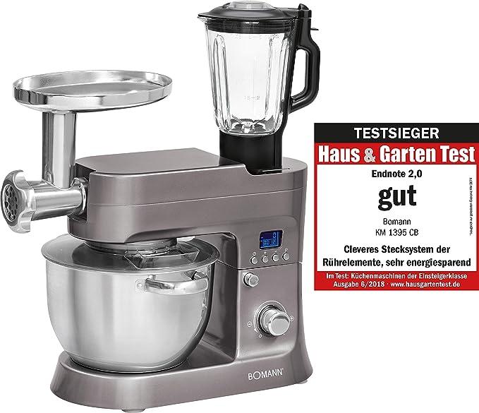 Bomann KM 1395 CB Robot de Cocina Multifunción, Batidora Amasadora, 1200 W, 6.2 litros, Titanio: Amazon.es: Hogar