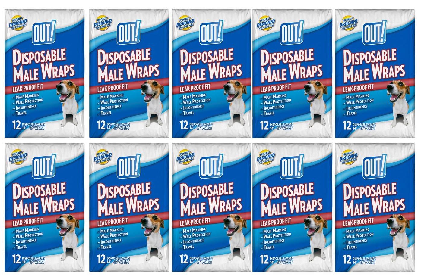 OUT! 12 Count Disposable Male Wraps, Medium - 12 Packs! (Medium)