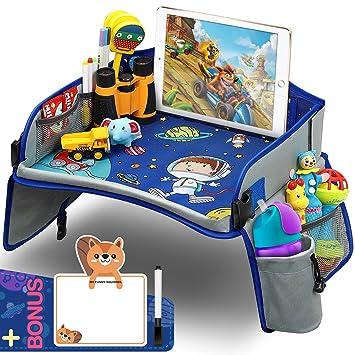 Yooly Kinder Reisetisch Knietablett Reisetisch Weltraum Muster Mit Weitere Organisieren Taschen Ersichtlich Ipad Halterung Getränkehalter Spieltisch Tisch Auto Geschenk Für 3 Jahre Kinder Baby