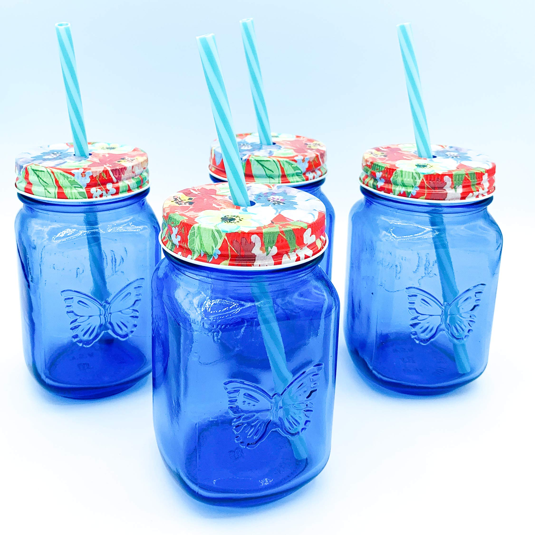 The Pioneer Woman Sapphire 16 oz. Drinking Mason Jars with Lids and Straws