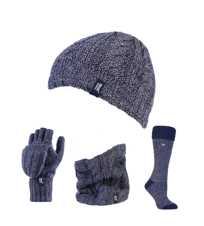 Heat Holders - Ladies Thermal Hat, Converter Gloves Neck Warmer & Ribbed Boot Socks Set (Blue / Navy Boot)