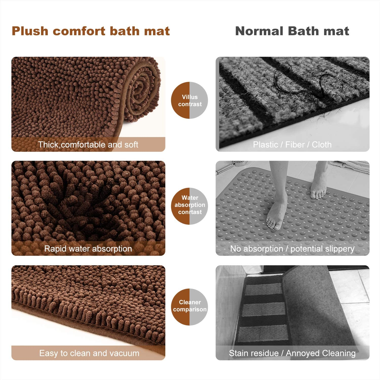 Machine Washable Shower Rug07 Morovigo Non-slip Shaggy Chenille Soft Microfibers Bathroom Rug with Water Absorbent Bath Mat Ivory, 40 * 60cm Thick