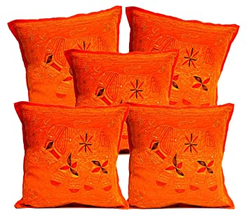 Amazon Com Krishna Mart India 5pcs Orange Sequin Embroidery
