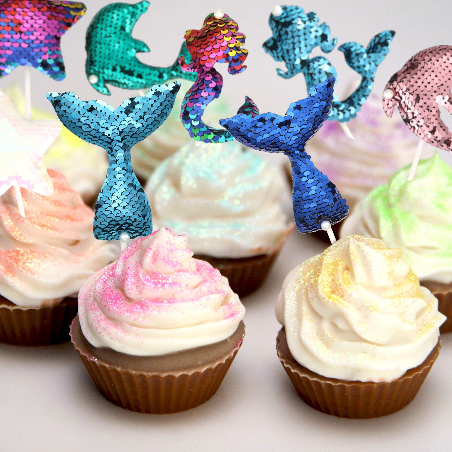 Bridal Shower Sequin Cake Topper Set Reversible Sequin Cake Topper Decoration with Mermaid Tail Star Mermaid Dolphin Design for Baby Shower 18 Pieces Wedding and Birthday Party Supplies