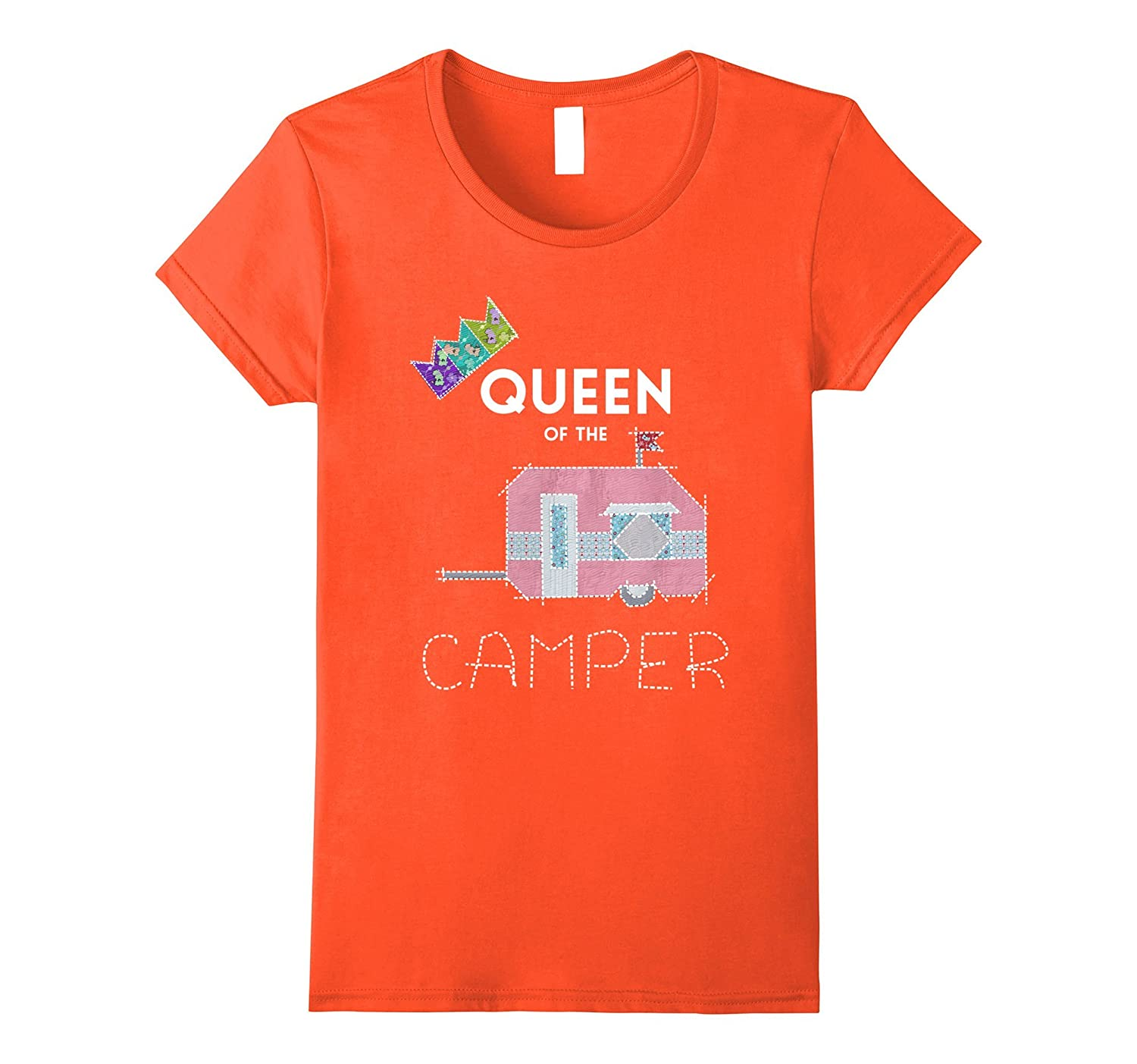 Womens Queen Of The Camper Funny T-Shirt Cute Camping RV Gift-TH