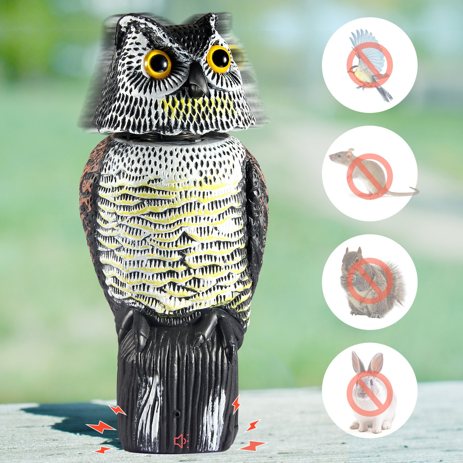 Ohuhu Horned Owl Decoy with Tweet, Light-control System Natural Enemy Pest Deterrent Scarecrow with Rotating Head Pest Control Repellents