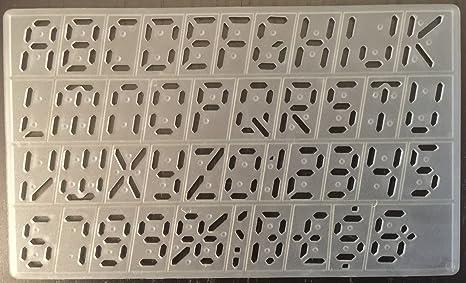 Cox 20 mm Digital estilo plantillas de plantillas letras mayúsculas alfabeto números símbolos plantillas p-