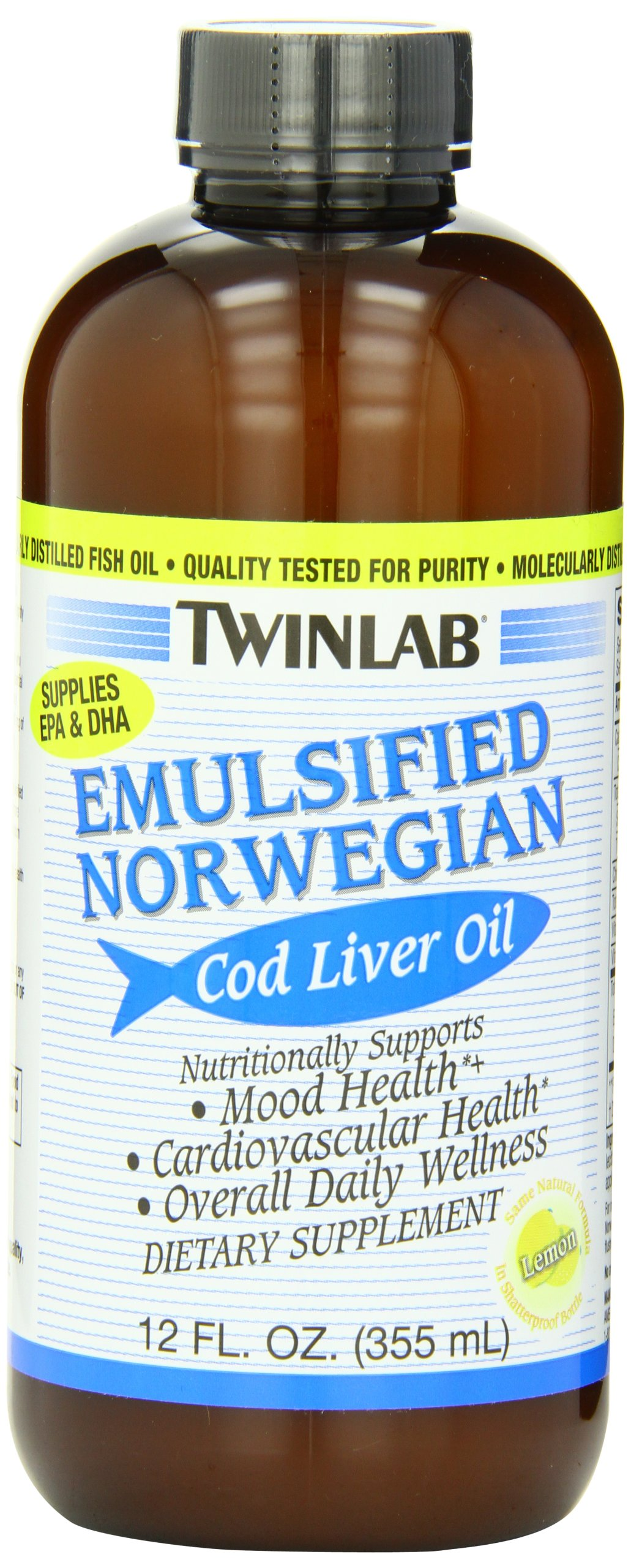 Twinlab Emulsified Norwegian Cod Liver Oil, Lemon, 12 Ounce  (Pack of 2)