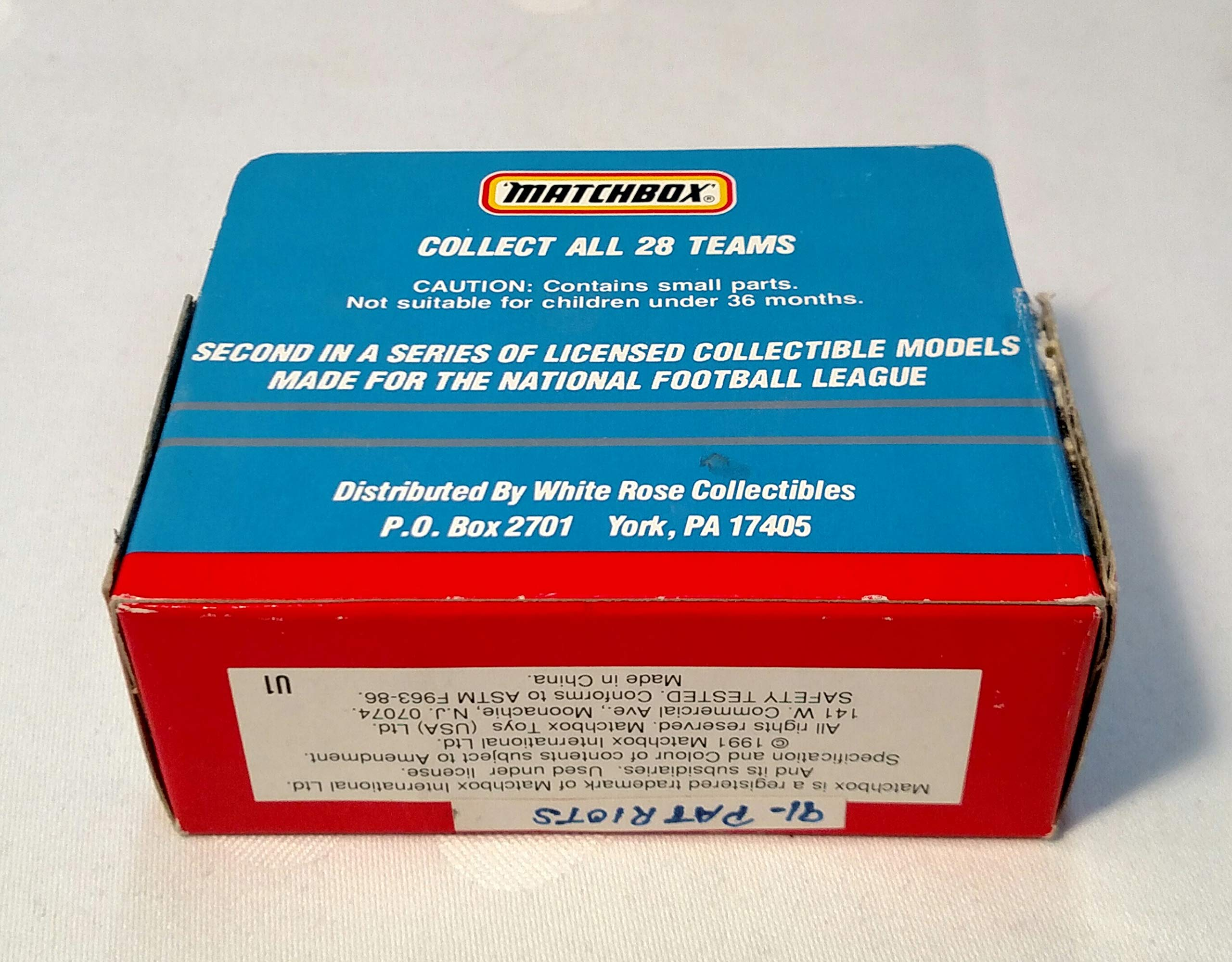 New England Patriots 1991 Limited Edition Matchbox Die Cast Collectible