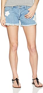 product image for James Jeans Women's Babby Beau Patched Boyfriend Shorts in Star Bright