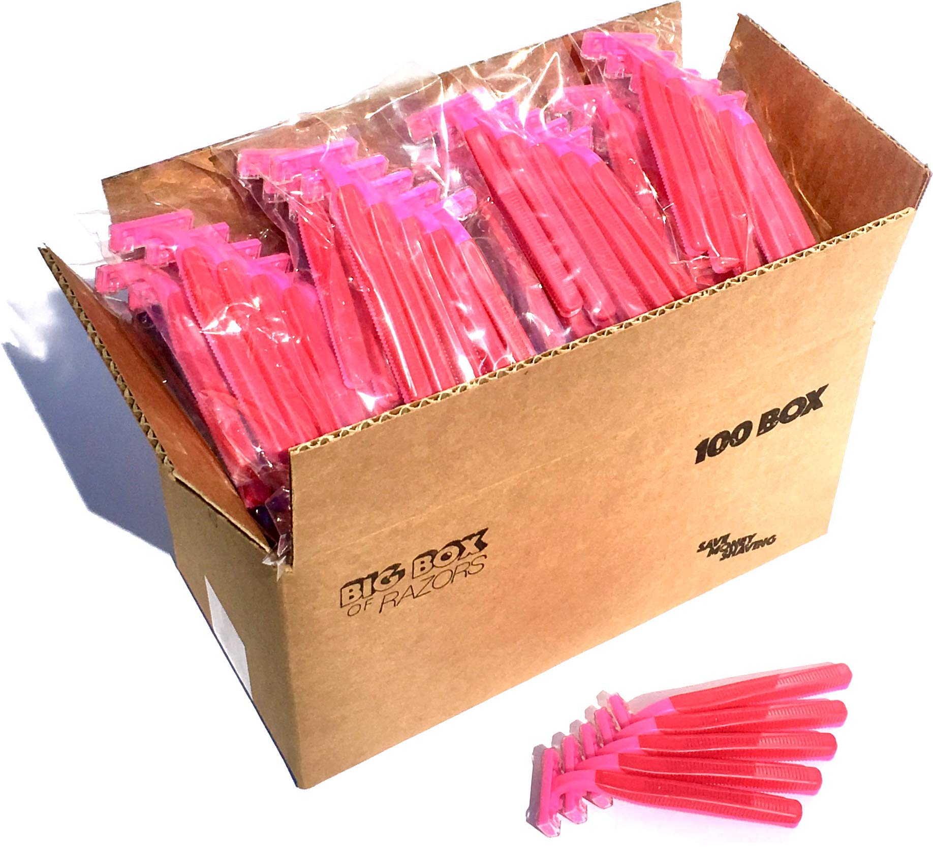 100 Box of Pink Razor Blades Disposable Stainless Steel Hospitality Quality Shavers High End Twin Blade Razors for Men and Women with Aloe Vera Lubrication Strip by Big Box of Razors