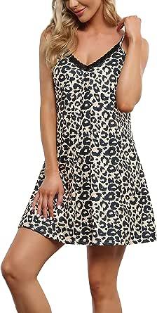 Memory baby Women's Sleepwear V-Neck Full Slips A Line Lace Sling Chemises Nightgown Dress S-XXL