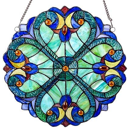 c8d29ed1b5e6 Mini Halston Stained Glass Panel  12 Inch Decorative Window Hanging  Suncatcher - Small Round Tiffany