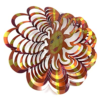 "WorldaWhirl Whirligig 3D Wind Spinner Hand Painted Stainless Steel Twister Sun Face (12"" Inch, Multi Color) : Garden & Outdoor"