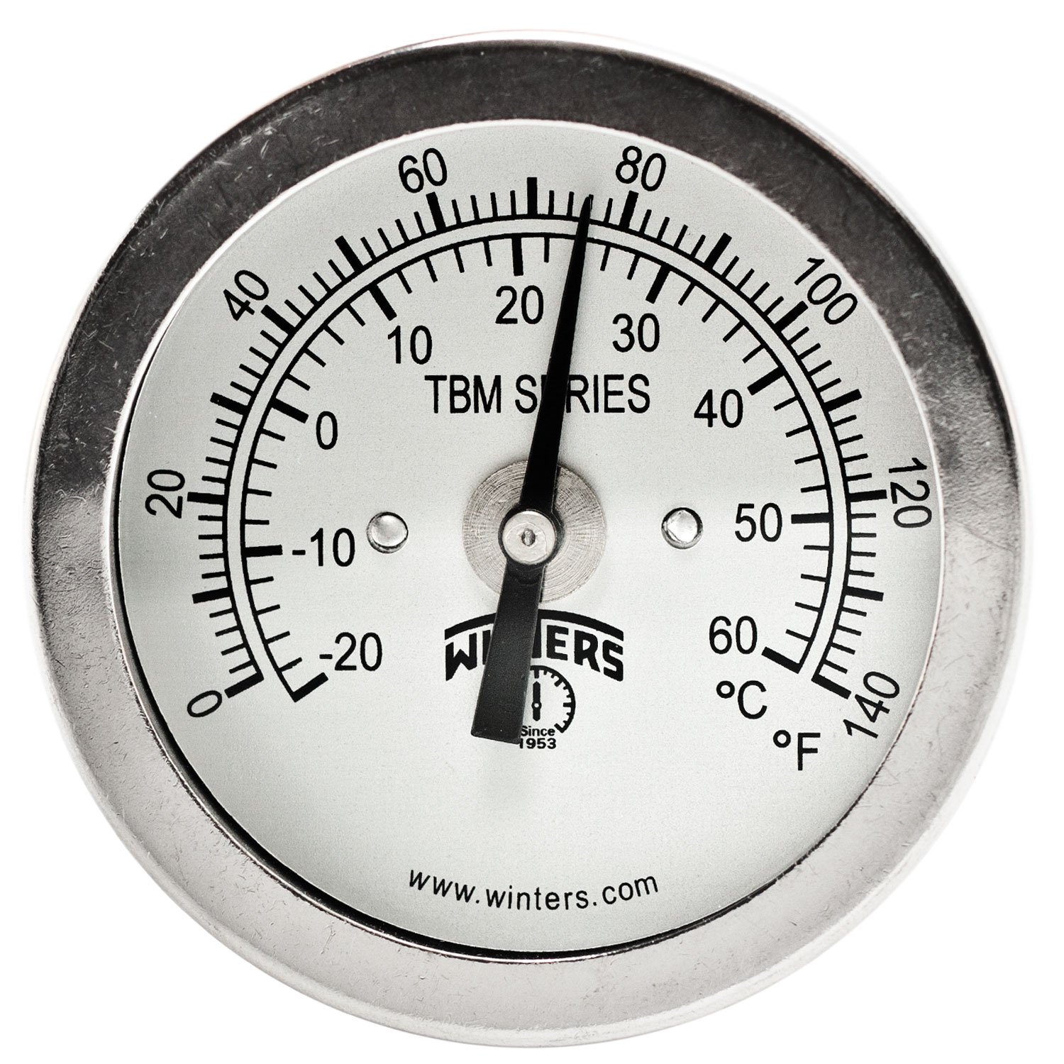 Winters TBM Series Stainless Steel 304 Dual Scale Bi-Metal Thermometer, 2-1/2'' Stem, 1/4'' NPT Fixed Center Back Mount Connection, 2'' Dial, 0-140 F/C Range